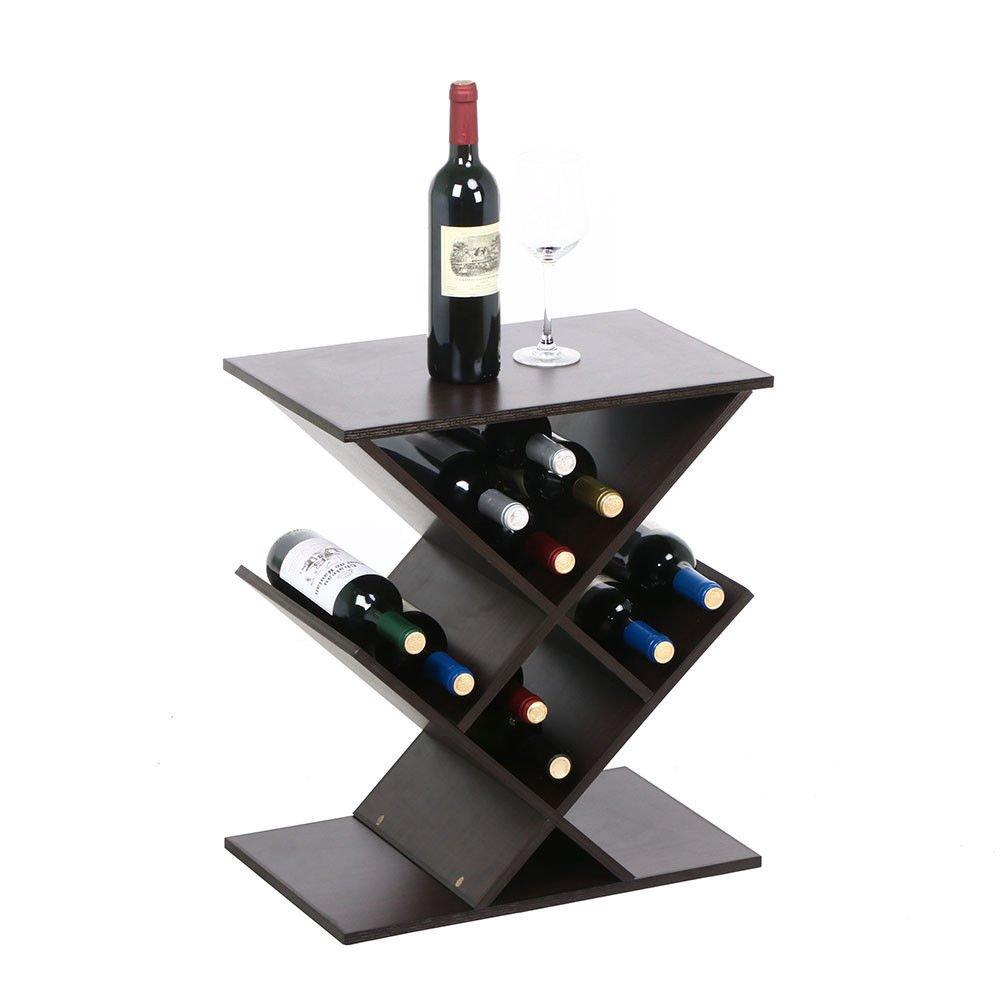 Brown Wine Rack Bottle Holder Table Storage Bar Wood Liquor Cabinet Decor Home