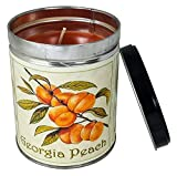 Our Own Candle Company Peach Scented Candle in 13 Ounce Tin with a Georgia Peach Label