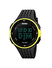 Men's Sport Digital Watches, ODGear Waterproof Electronic Military Quartz Casual LED Back Light Thin Unique Simple Design Water Resistant Calendar Month Date Day (Yellow)