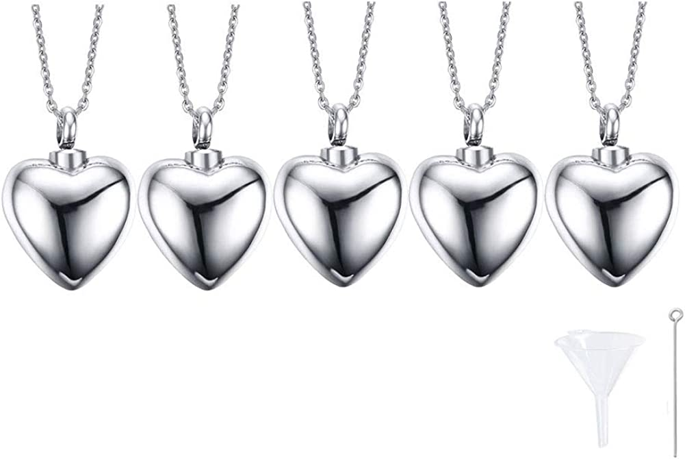 VNOX Cremation Jewelry Cute Heart Cremation Urn Necklace for Ashes Holder Urn Pendant Necklace Keepsake Jewelry