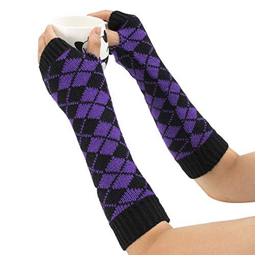 Aland Winter Women Rhombic Print Fingerless Long Gloves Arm Warmer Knitted Mittens Purple by Aland (Image #1)