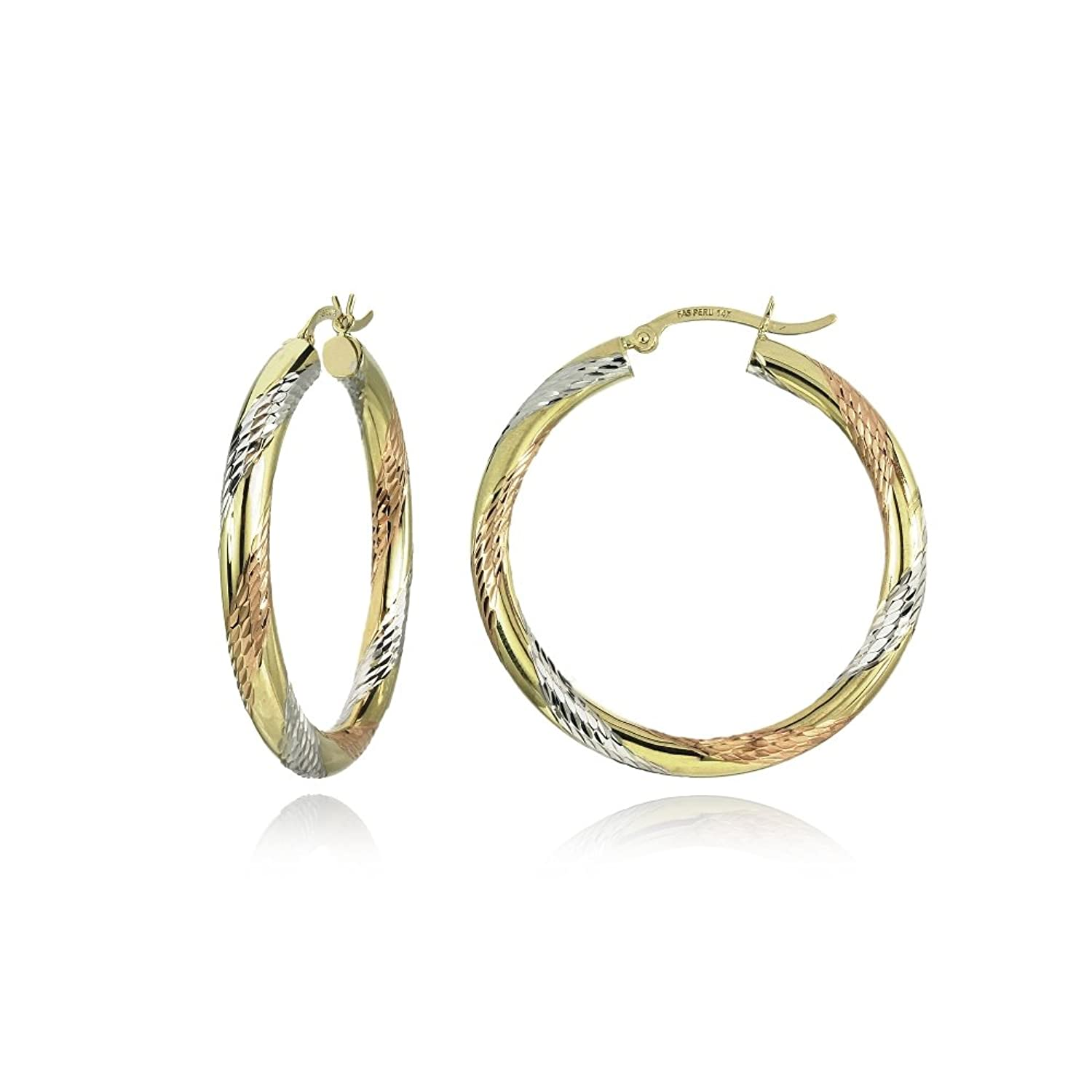 14K Gold Tri Color Polished & Diamond-Cut 3mm Lightweight Round Hoop Earrings, All Sizes