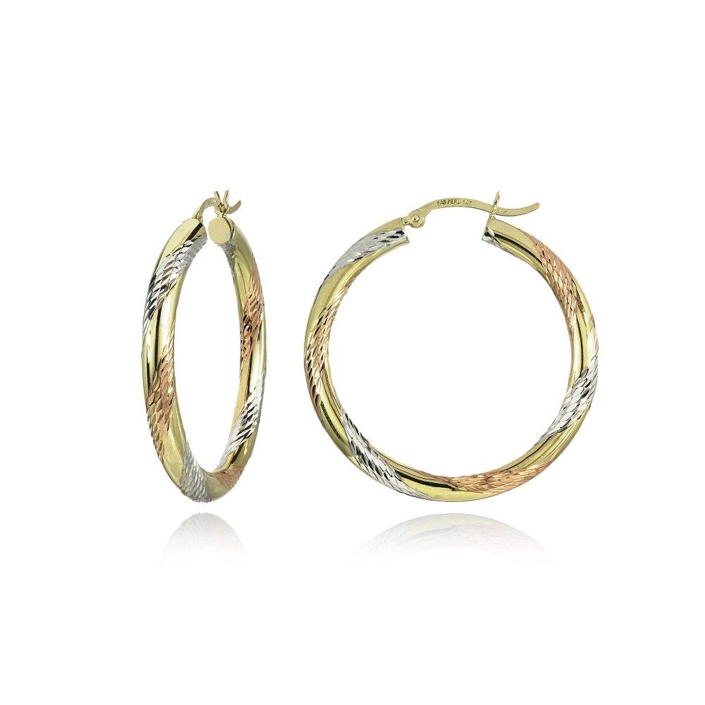 14K Gold Tri Color Polished & Diamond-Cut 3x38mm Lightweight Medium Round Hoop Earrings