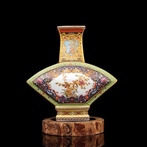 (Vase Colour enamels Porcelain Vase Golden Fan-Shaped Flower and Bird Vase Qing Dynasty Style Vase with Flowers Home Decor Oriental Furniture Home Decoration Art Collection)