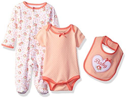 1 Set Creeper (Nannette Baby Girls' 3 Piece Sleeper Creeper and Bib Set, Light Pink, 0-3M)