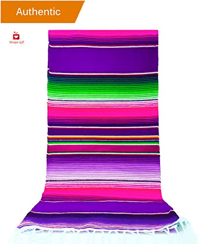 New | Alondra's Imports (TM) (84'' x 15'') Elegantly Handwoven, Genuine Serape Table Runner (Mexican Table Runner, Fiesta Table Runner, Mexican Blanket, Zarape, Serape Table Cloth) (Empress Purple) by Alondra's Imports️