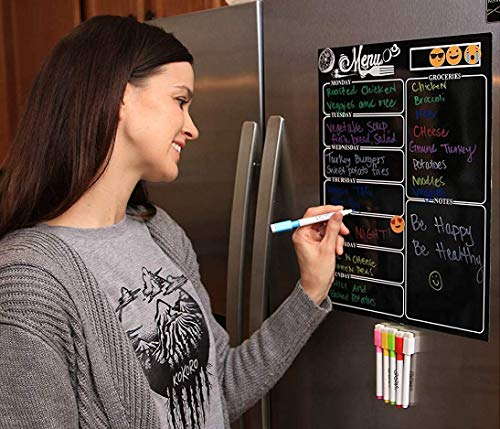 Magnetic Dry Erase Meal Planner by OacisLife | [2019 New] 16 by 12 Reusable Weakly Board, Menu for Kitchen Refrigerator Door with 6 Color Magnetic Markers, 6 Pieces Icons