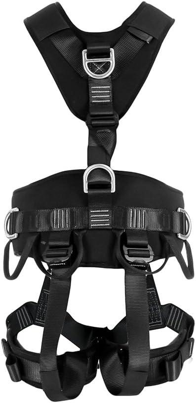 Fusion Climb Tac Rescue Tactical Full Body EVA Padded Heavy Duty Adjustable Zipline Harness 23kN L-XL Black TCH-603-FLAT-LXL