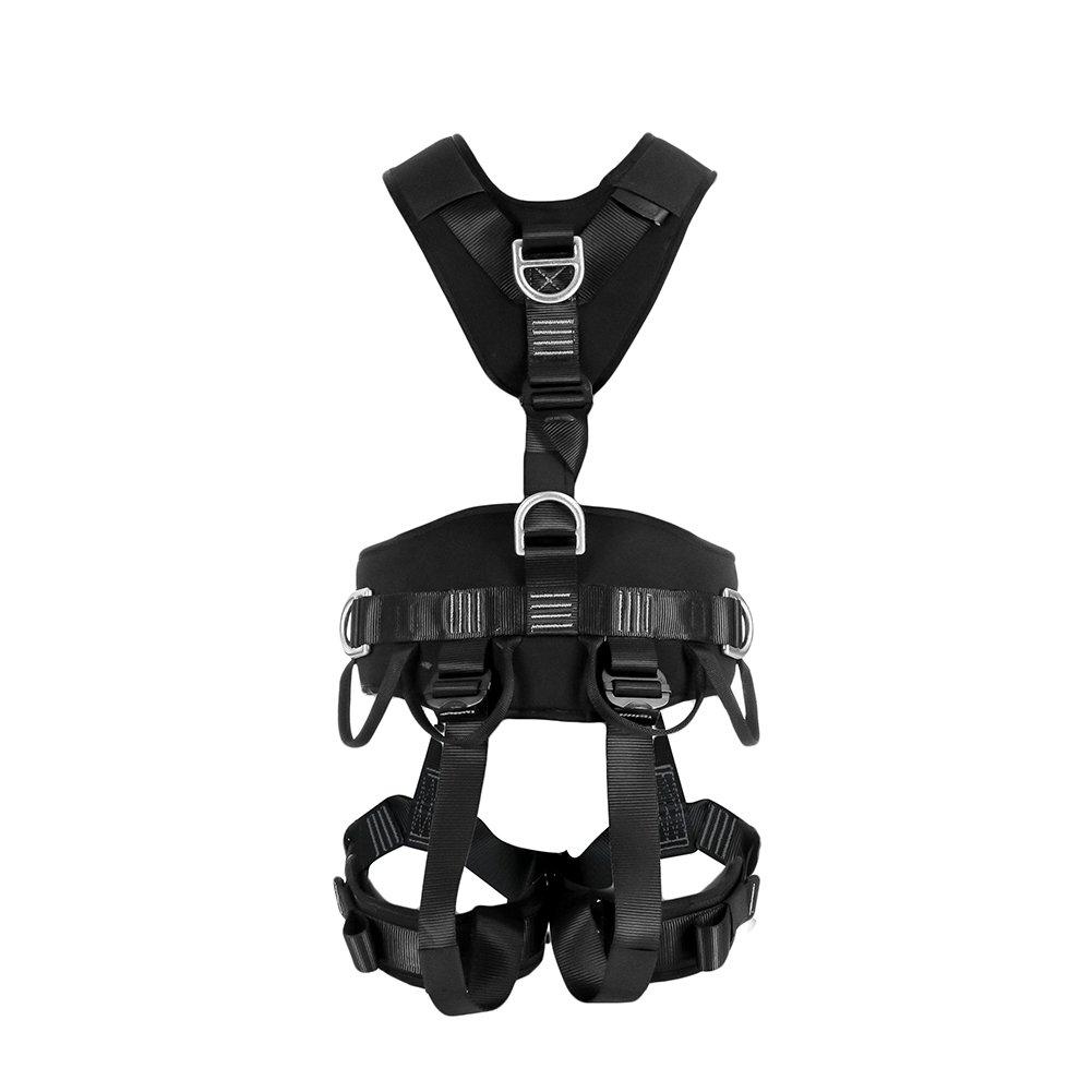 Fusion Climb Tac Rescue Tactical Full Body EVA Padded Heavy Duty Steel Adjustable Zipline Harness 23kN L-XL Black