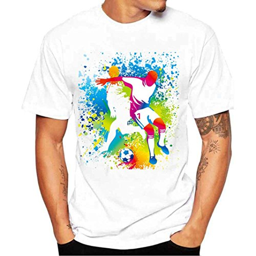 Joint 2018 FIFA World Cup Russia Men's Summer Tee Shirts, Fashion Football Print Short Sleeve T Shirt Blouse (Medium, A) - Cup Slim Fit T-shirt