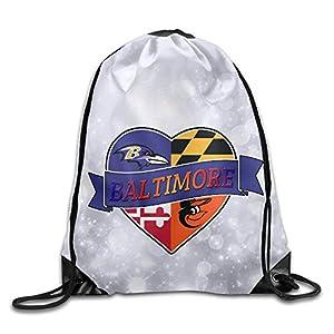 LINNA Baltimore Sports Baseball Logo Mixed Durable Drawstring Backpack Camping Valise Bag