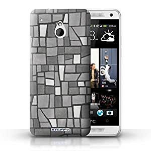 KOBALT? Protective Hard Back Phone Case / Cover for HTC One/1 Mini   Grey/White Design   Mosaic Tiles Collection by lolosakes