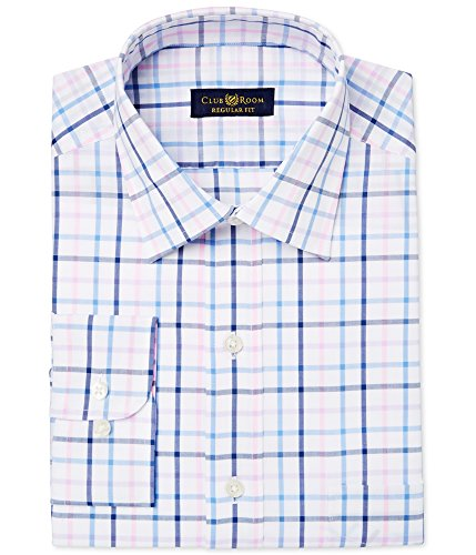 Club Room Mens Regular Fit Checkered Dress Shirt Pink from Club Room