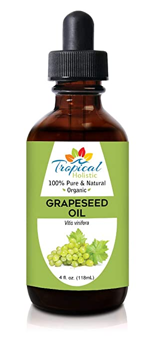 Amazon Com 100 Pure Organic Grapeseed Oil 4 Oz By Tropical Holistic All Natural Cold Pressed Best For Skin Hair Massage And Carrier Oil Beauty