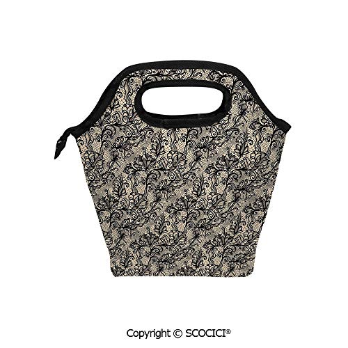 (Portable thickening insulation tape Lunch bag Abstract Old Fashioned Blossoms Nature Inspired Feminine Pattern Baroque Influences Decorative for student cute girls mummy bag.)