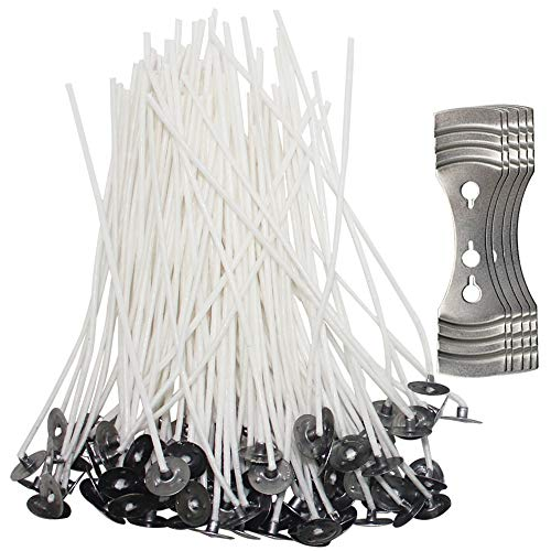 SENHAI 200 Pcs Candle Wicks with 5 Pcs Centering Device, 4.7 inch Pre-Waxed Cotton Core Wicks with Metal Sustainer for Candle Making and Candle ()