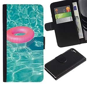 iBinBang / Flip Funda de Cuero Case Cover - Agua Salvavidas Verano Relax - Apple Iphone 5 / 5S