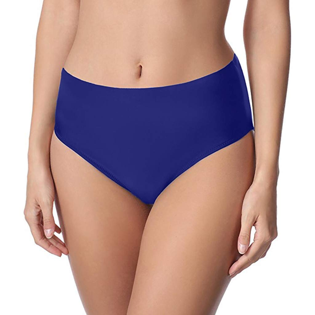 Women Sexy Solid Mid Waist Beach Bikini Bathing Swimwear Brief Trunks Navy
