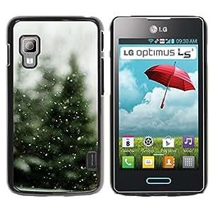 Caucho caso de Shell duro de la cubierta de accesorios de protección BY RAYDREAMMM - LG Optimus L5 II Dual E455 E460 - Tree Christmas Winter Snow