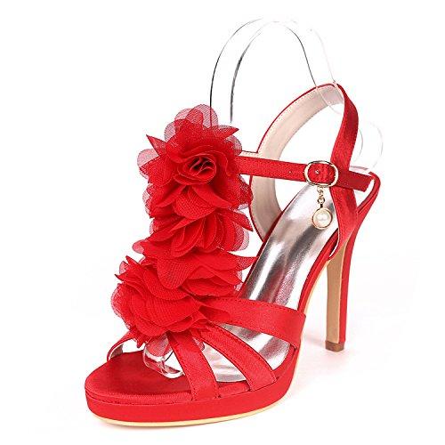 Chaussures De Femmes Satin UK4 5915 Red Plate Chaussures Ouvert Stiletto Pompe Talon Forme EU37 De Soirée Sandales Mariage Bout 18H Base Flower Court Ager qBXtRUwqx