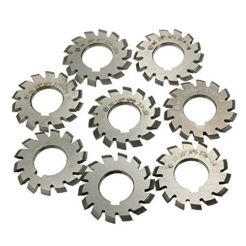 Pack Disk Shaped - 8 pcs Module M1 Inner Bore 20° 22mm #1-8 HSS Involute Gear Cutters Disk-Shaped