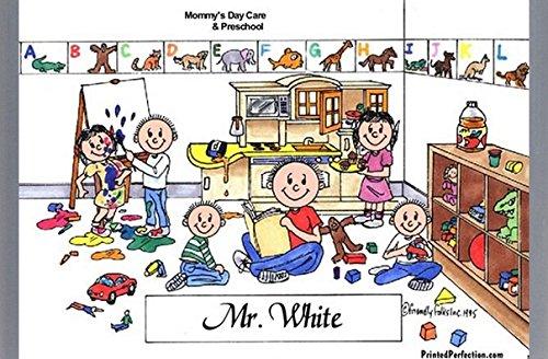 Personalized Friendly Folks Cartoon Side Slide Frame Gift: Day Care Worker - Male Great for Pre-K & Kindergarten Teacher, montessori school