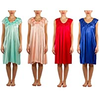 JOTW 4 Pack Of Silky Sheer Short Sleeve Nightgowns With Flower Neckline (9031 & 9035)