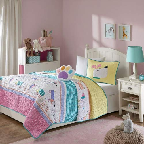 Mi Zone Kids Milo Full/Queen Bedding for Girls Quilt Set - Pink Yellow, Animal Dog – 4 Piece Kids Girls Quilts – Ultra Soft Microfiber Quilt Sets Coverlet (Childrens Bedding Quilts)