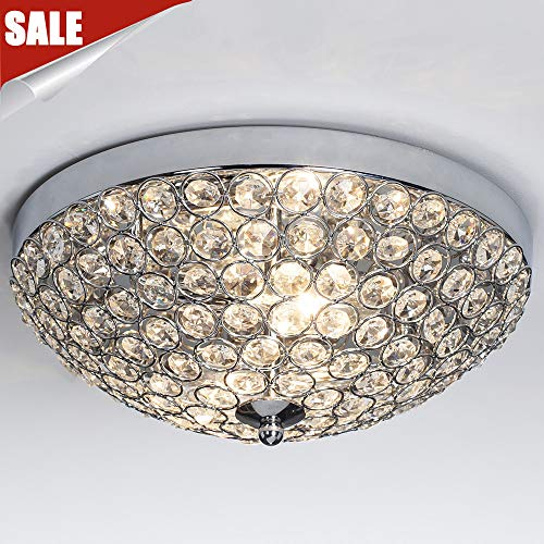 GLANZHAUS Contemporary Fashion Style 11.8 Inches Big Clear Crystal Beads Bowl Shaped Chandelier Flush Mount Ceiling Light, Chrome Finish Base Crystal - Contemporary Lighting Kitchen
