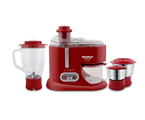 Maharaja Whiteline Ultimate Red Treasure JX 101 550 Watt Juicer Mixer Grinder  Red/Silver