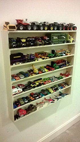 VersaRacks - Cars, Thomas the Train, Monster Trucks, Legos, Model Wall Display Case Shelf (Tossed Trains)