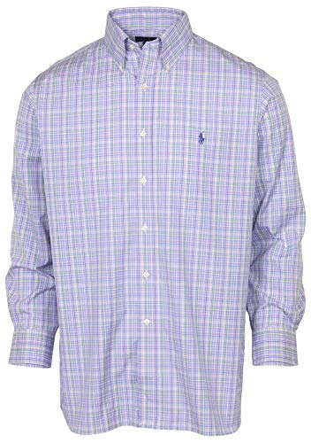 Polo RL Men's Easy Care Button Down LS Plaid Shirt (16-34/35, Lave/Green)