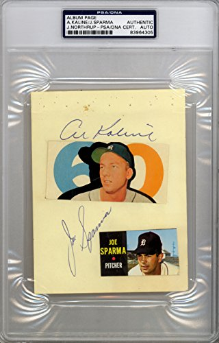 Al Kaline & Joe Sparma Autographed 4.5x6 Album Page Detroit Tigers PSA/DNA (Detroit Tigers Album)