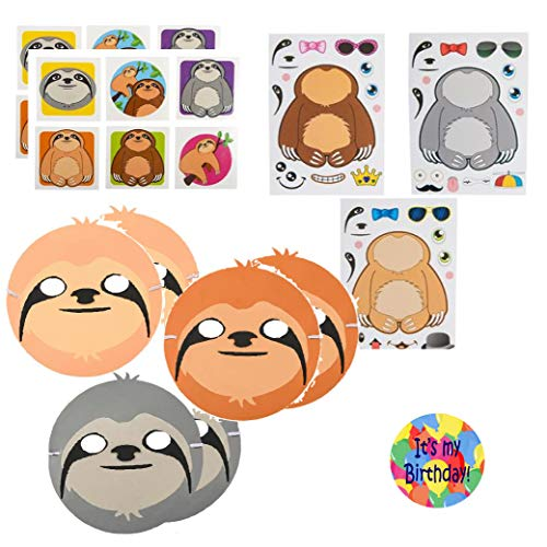Sloth Party Favors for 12 - Sloth Masks (12), Make a Sloth Stickers (12), Sloth Tattoos (144), and a Happy Birthday Sticker (Total 169 Pieces)
