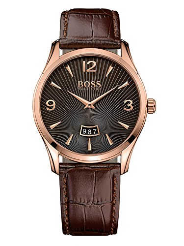 Hugo Boss Boss Herrenuhr 1513426 Silver / Brown Leather Analog Quartz Men's Watch