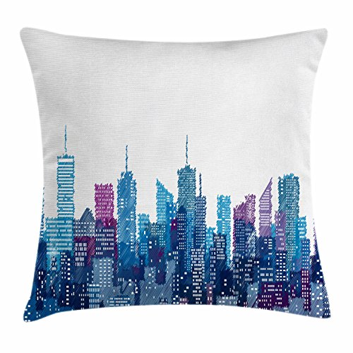 Lunarable New York Throw Pillow Cushion Cover, Skyline of NYC Manhattan Brooklyn Bronx Queens Scratched Pattern, Decorative Square Accent Pillow Case, 16