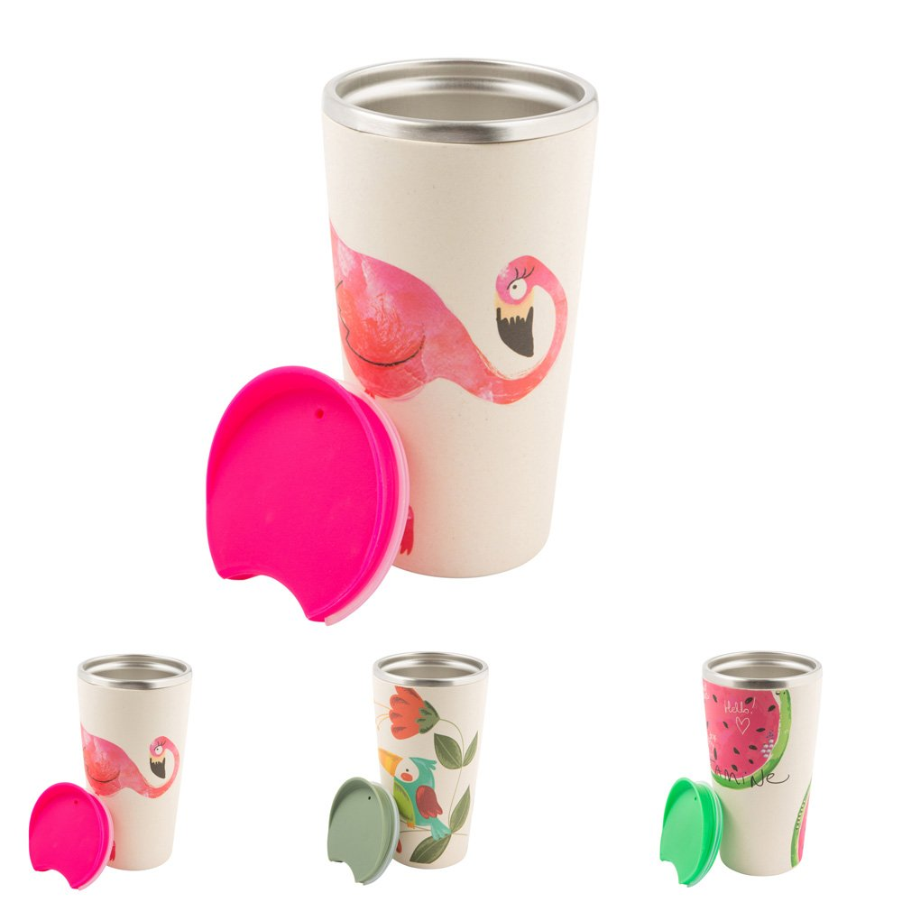 BIOZOYG Sustainable Bamboo Coffee to go Mug Bamboo Cup with Stainless Steel Core, Push Closure I Travel Mug with Lid Bamboo Mug Thermo Container I Thermo Insulated Mug to go 400 ml Melon Bionatic