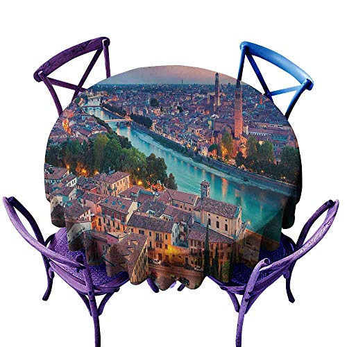 Clear Verona Table (Round Outdoor Tablecloth,European,Verona Italy During Summer Sunset Blue Hour Adige River Medieval Historcal,for Events Party Restaurant Dining Table Cover,43 INCH Aqua Coral Green)