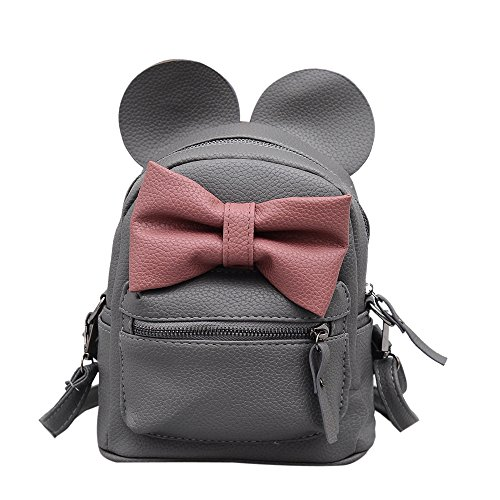 (Sunwel Fashion Bag Outdoor Shopper School Bookbag Casual Shoulder Pu Tide Traveling Cute Bow Small Backpack)