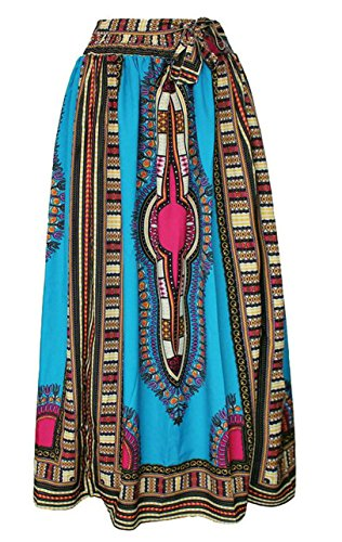 Oberora-Women Retro Africa Print High Waist Bandage Dashiki Maxi Skirts 1 M by Oberora-Women