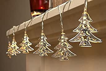 Tira con 15 luces LED Auraglow para interior (funciona con pilas, diseño de árboles de Navidad)