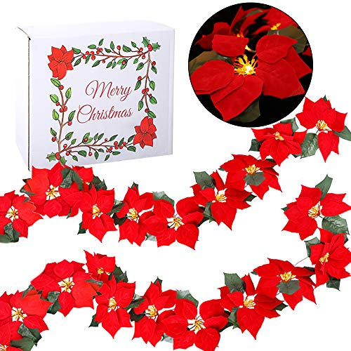 Funarty Christmas Red Poinsettia 2pcs LED Lighted Garland with Holly Leaves and Red Berries