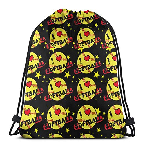 Girls Love Softball Drawstring Bag Backpack Travel Gymsack Drawstring Backpack Sackpack ()