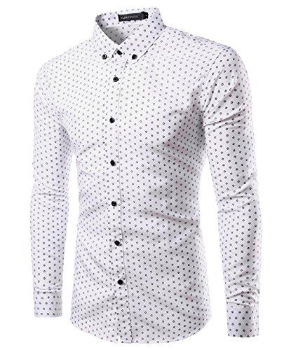 Mada Mens Casual Shirts Long Sleeve Slim Fit Dress Shirt Asian XX-Large/US Large Quadrangular&White (Period Dress)