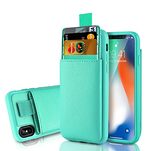 LAMEEKU Wallet Case for Apple iPhone Xs and iPhone X, Protective Leather Cases with Credit Card Holder Slot Pocket, Shockproof TPU Bumper Phone Cover Compatible with iPhone Xs/X - Mint Green
