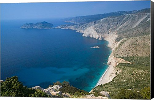 Coastline View, Assos, Kefalonia, Ionian Islands, Greece by Walter Bibikow/Danita Delimont Canvas Art Wall Picture, Museum Wrapped with Black Sides, 27 x 18 inches (Wall View Coastal Art)