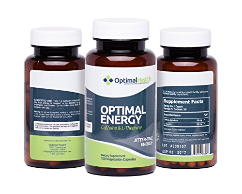 Optimal Energy - #1 Energy Nootropic Supplement for Focus, Power and Vitality - 100% Natural Smart Caffeine and L-Theanine - Perfect as Pre-Workout, Study Aid, Coffee or Energy Drink Replacement | Best Value 100 Vegetable Capsules