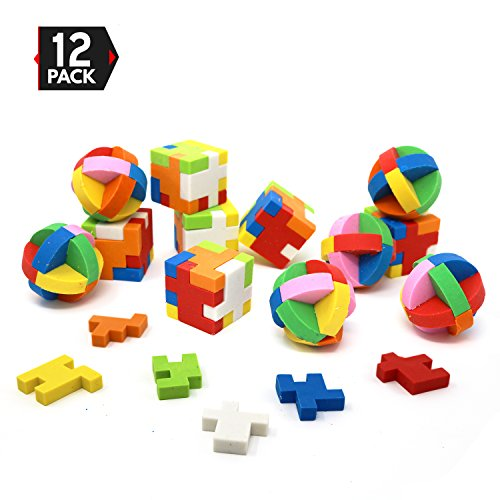 Big Mo's Toys Puzzle Erasers - Individually Wrapped Goody Bag Party Favor and Stocking Stuffers Pencil Eraser - 6 Balls and 6 Cubes ()