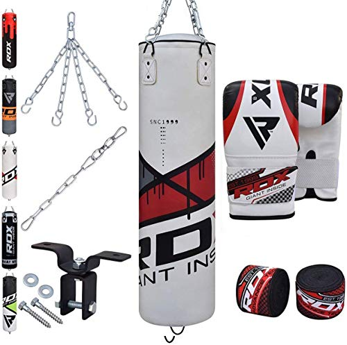 RDX Punching Bag Filled Set Kick Boxing MMA Heavy Muay Thai Training Gloves Punching Mitts Hanging Chain Anchor Ceiling Hook Martial Arts 4FT 5FT ()