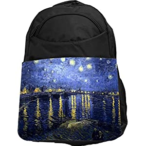 Rikki Knight UKBK Van Gogh Starry Night Tech BackPack - Padded for Laptops & Tablets Ideal for School or College Bag BackPack